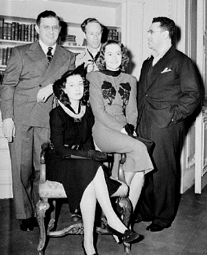 David O. Selznick, Vivien Leigh, Leslie Howard, Olivia de Havilland et George Cukor