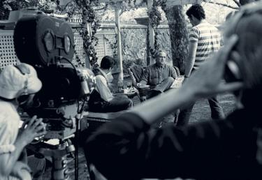 Marlon Brando sur le tournage du film Le Parrain